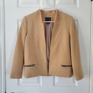 Trouve Tan Zipper Detail Blazer